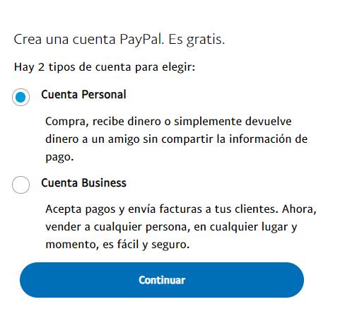 elegir cuenta paypal